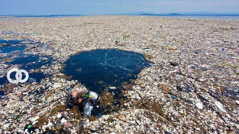 Una de las islas de plástico formadas en el océano Pacífico (Nat Geo)