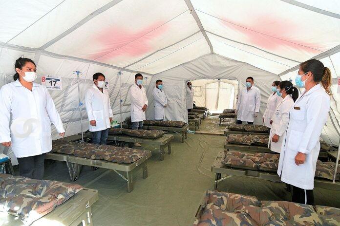 Ministerio de Salud instaló un Hospital Móvil con generador de oxígeno en Cochabamba