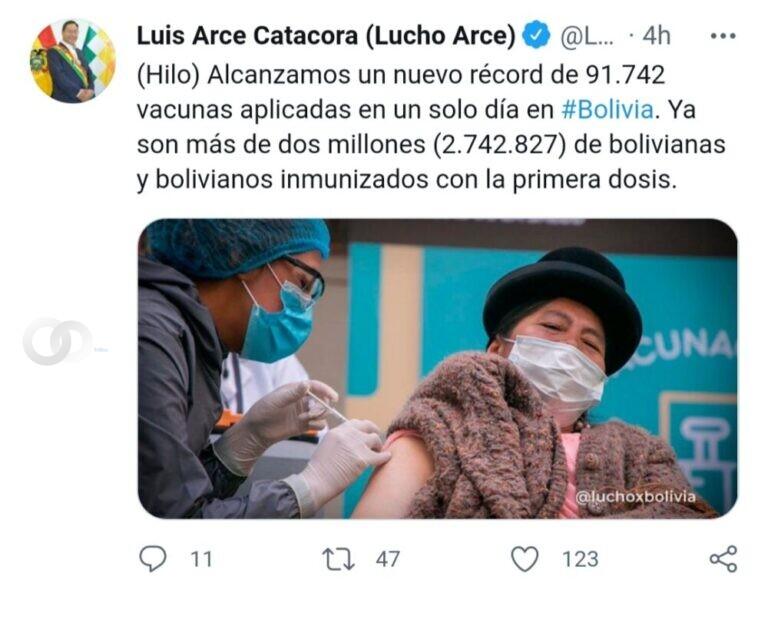 Arce destaca nuevo récord de personas vacunadas en un día