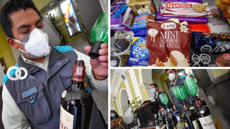 Alcaldía de La Paz decomisó chocolates y botellas con licor adulterado