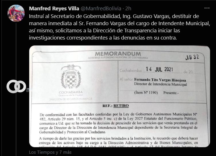 Intendente Vargas fue destituido por una denuncia afirmó la Alcaldía de Cochabamba