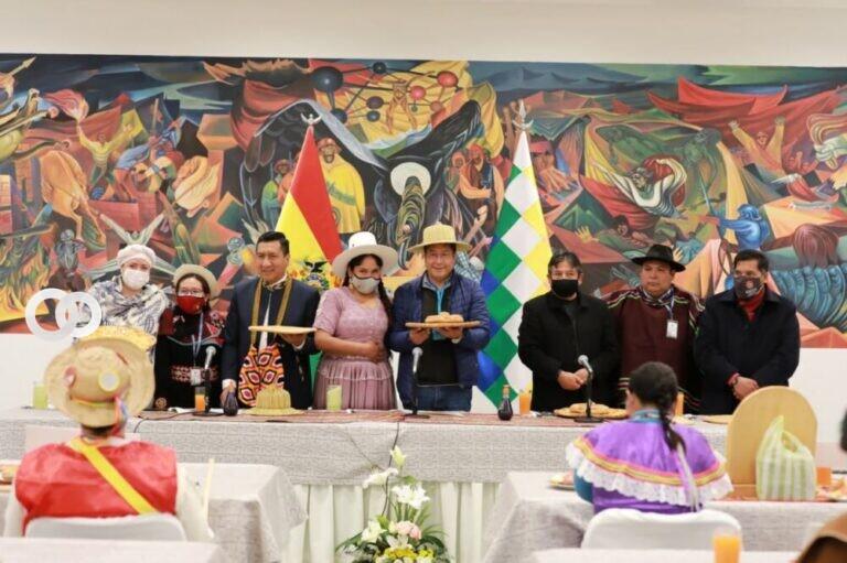 Arce desayunó con representantes de pueblos indígenas por el Día de la Revolución Agraria