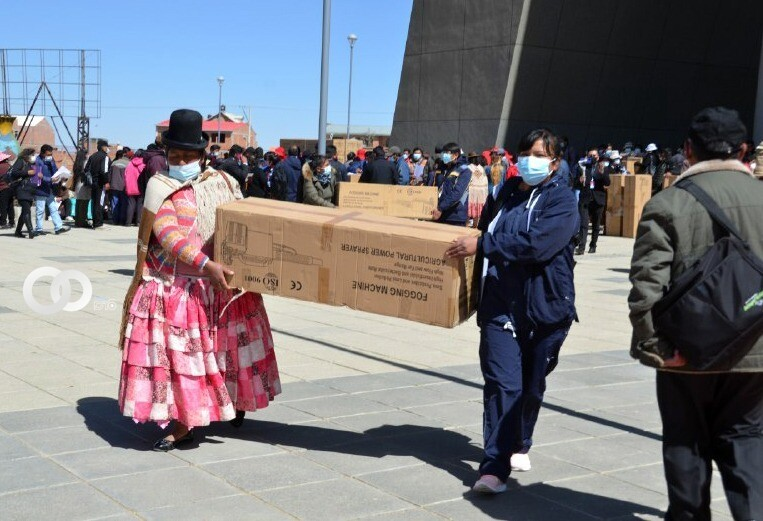 El Alto: unidades educativas de los 14 distritos recibieron motofumigadoras