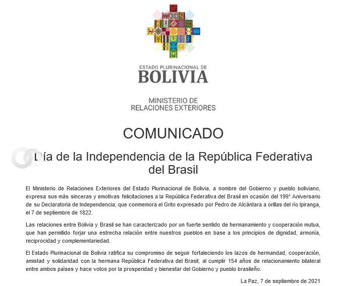 Bolivia congratuló a Brasil por su aniversario 199 de Independencia