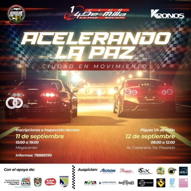 """Al menos 100 corredores de coches y motos participaran en """"Acelerando La Paz, ciudad en movimiento"""""""