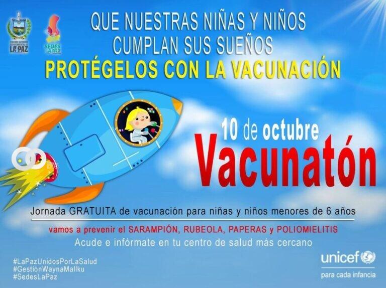 """SEDES de La Paz espera vacunar a 49.000 niños en la """"Vacunaton"""" de este domingo"""