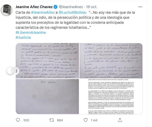 Áñez envía carta a Presidente de Bolivia a 7 meses de su detención