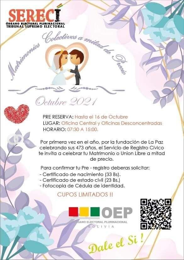 La Paz: OEP abre registros a mitad de precio para parejas que contraigan nupcias