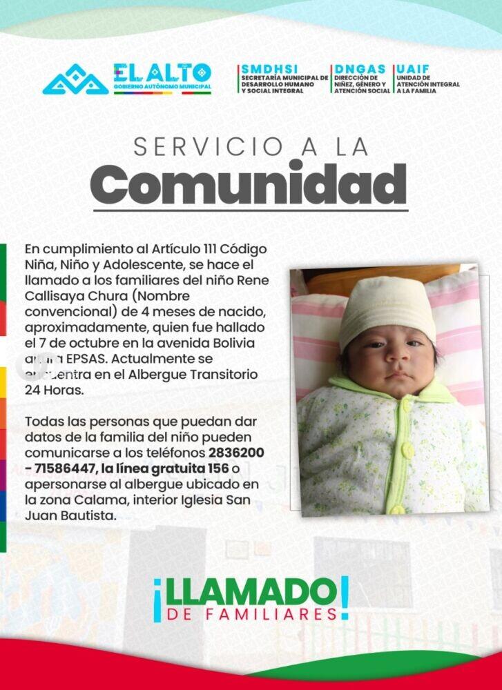 El Alto: Se busca a los padres del bebé de cuatro meses que fue abandonado