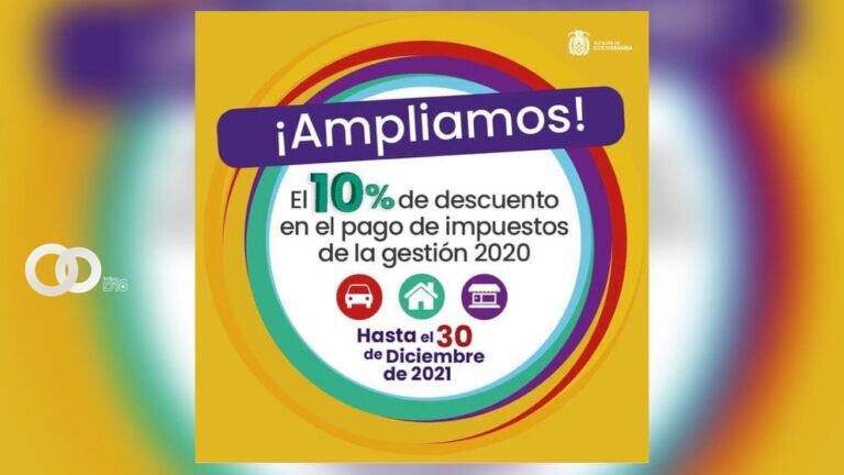 Amplían fecha de descuento del 10% en pago de impuestos en Cochabamba